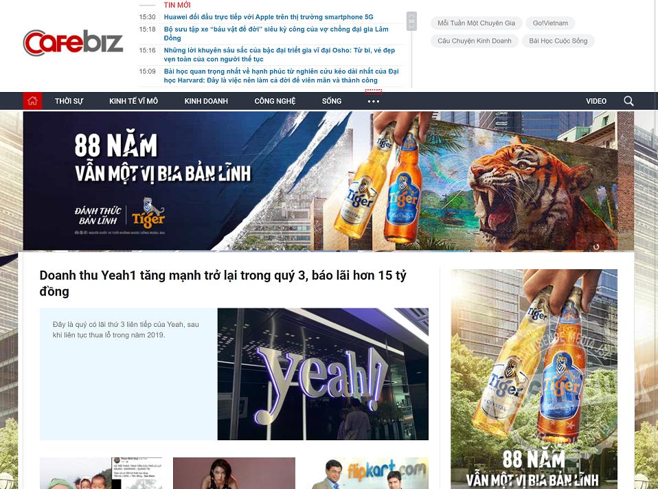 báo giá quảng cáo trên Cafebiz