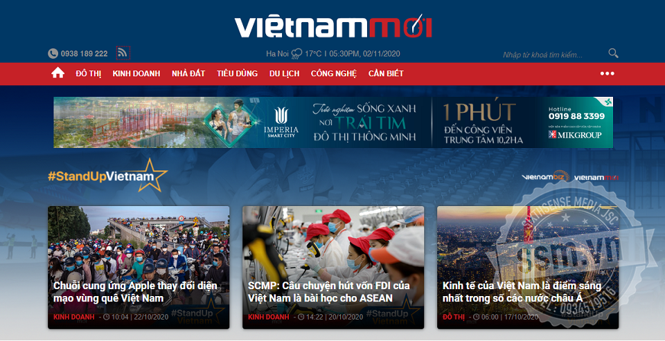 Báo giá quảng cáo trên Vietnammoi