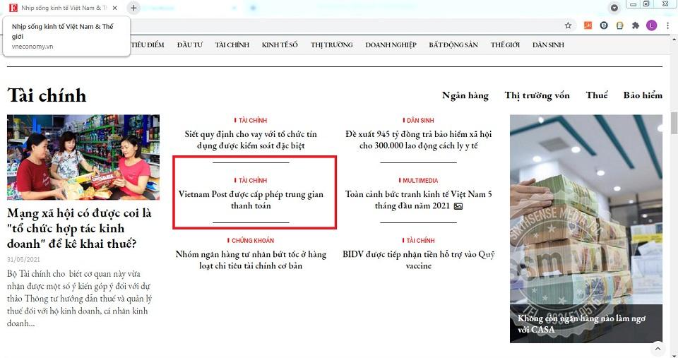 Vietnam Post đăng bài PR trên Vneconomy