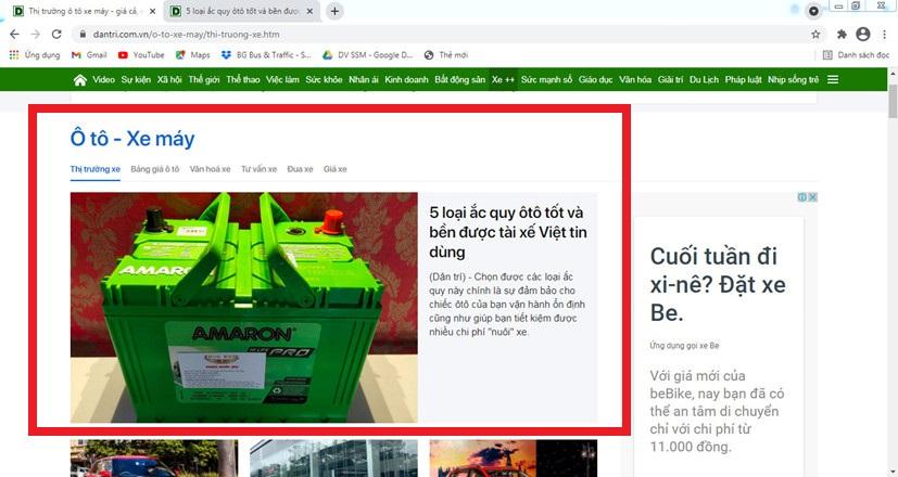 Nhà phân phối ắc quy Phúc Khôi đăng bài PR quảng cáo trên Dân trí