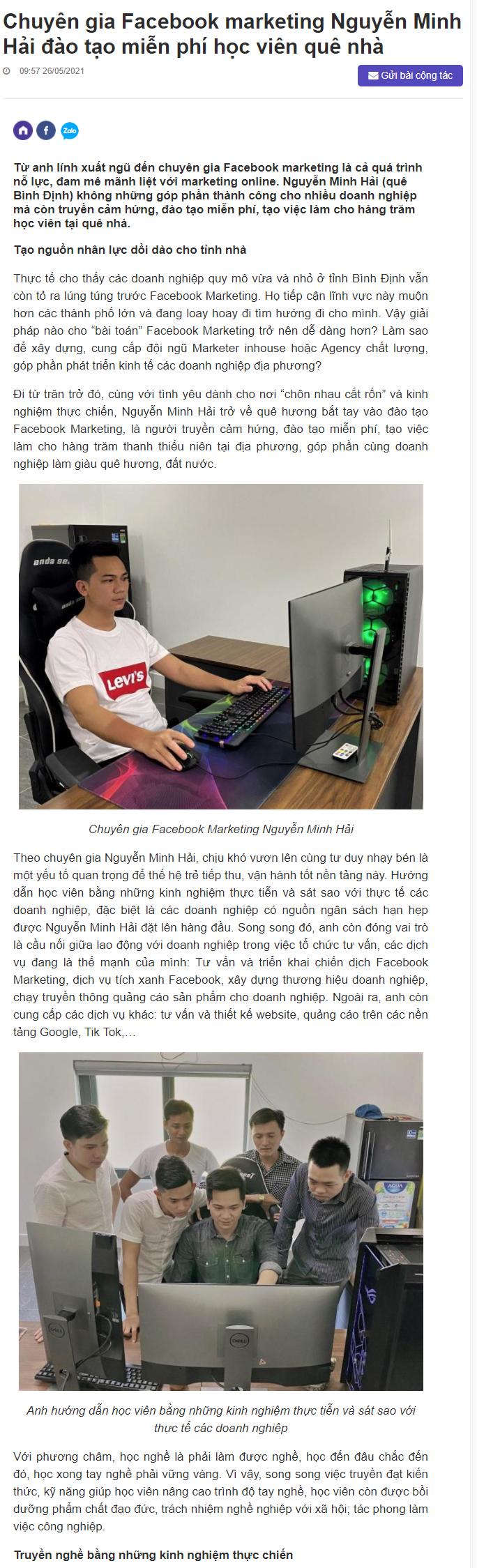 PR thương hiệu cá nhân Nguyễn Minh Hải trên báo ngoisao.vn