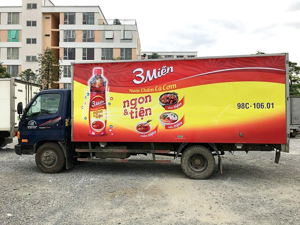 Dán quảng cáo trên xe tải toàn quốc cho Nước chấm cá cơm 3 Miền